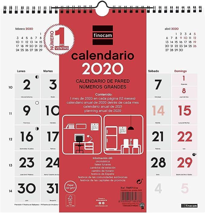 Finocam - Calendario de pared 2020 Números Grandes catalán: Amazon ...
