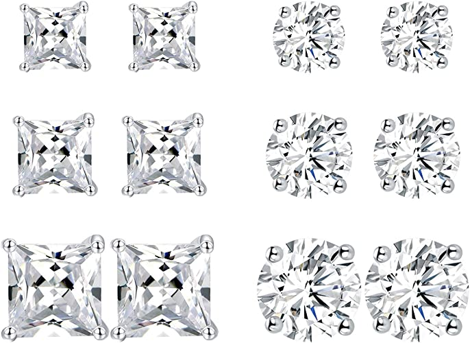 A PAIR Of SILVER STUDS STONE SET WITH SPARKLING WHITE RECTANGULAR CZ`S