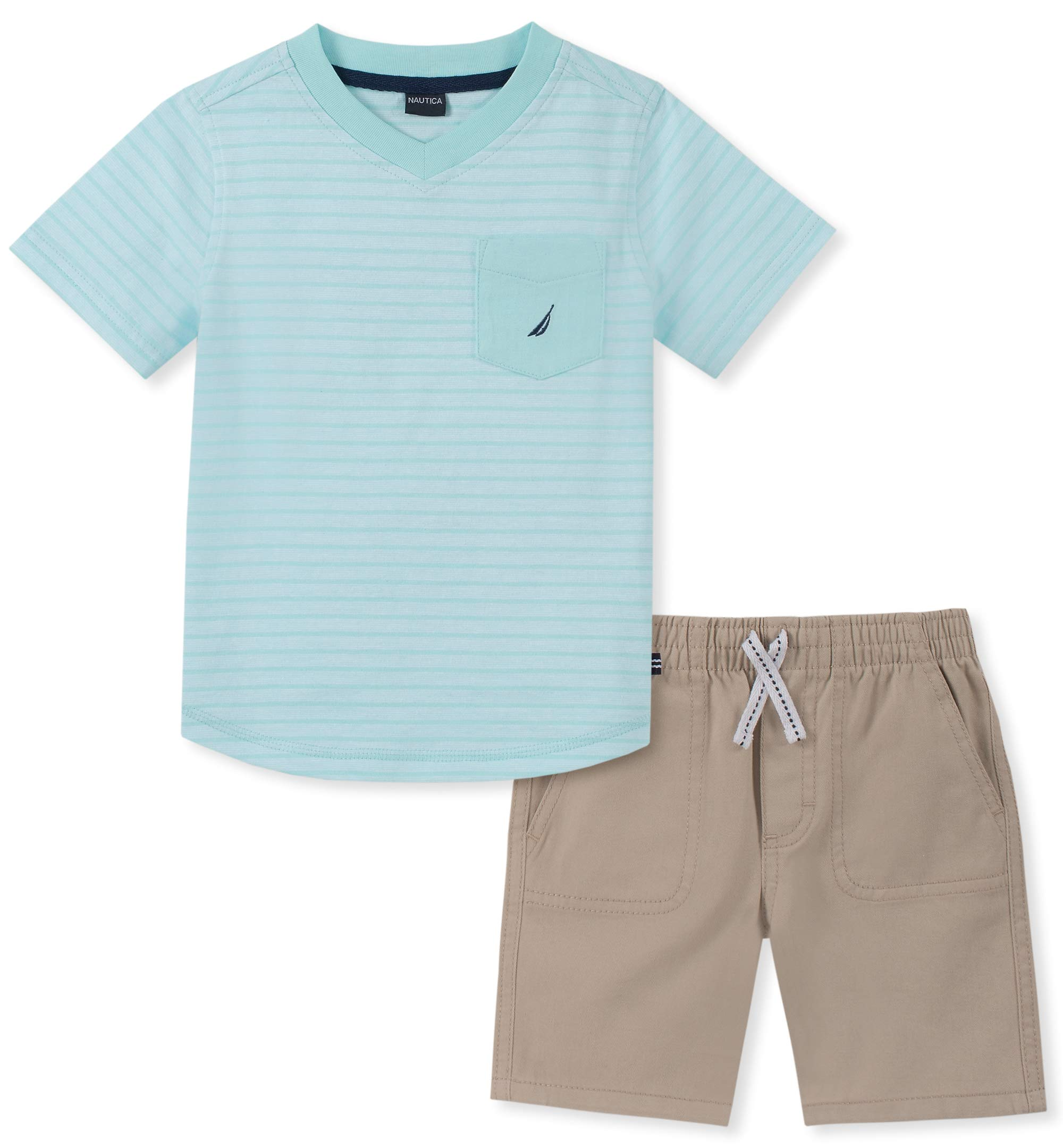 Nautica Sets (KHQ) Boys' Little 2 Pieces Tee Shorts Set, Green Stripes, 6
