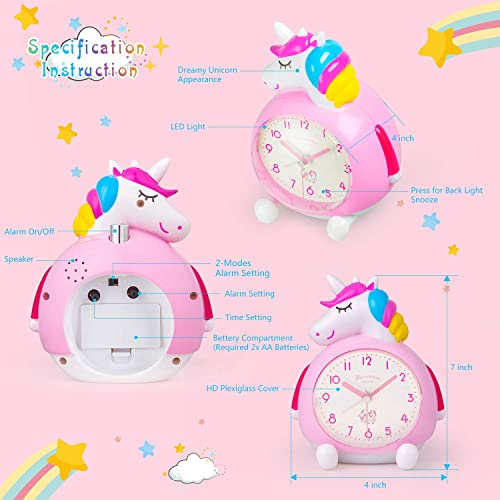 BEW Unicorn Alarm Clock for Kids, Loud Music Ringtones Snooze Alarm Clock with Backlight, Easy to Set Silent Battery Operated Traditional Alarm Clocks for Girls Bedroom, Bedside, Table, Gift Pink