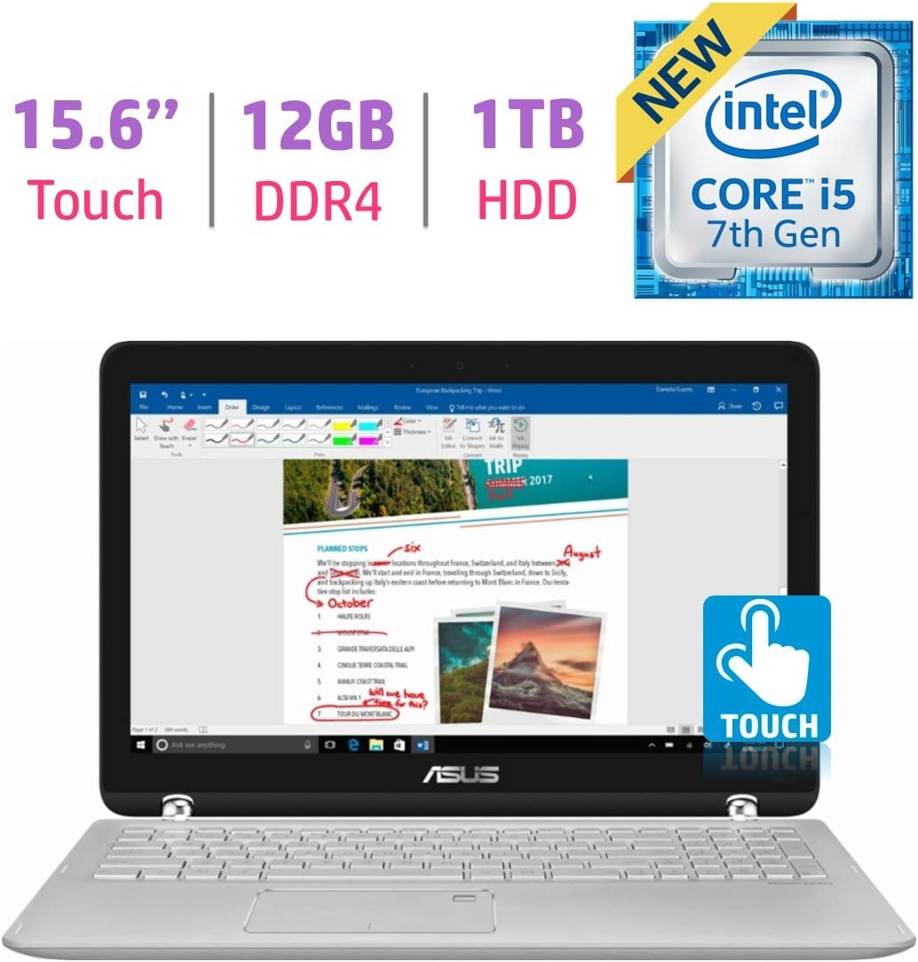 "ASUS 15.6"" Q504UA-BI5T26 2-in-1 Touchscreen FHD 1080p Laptop PC, 7th Intel Core i5-7200u, 12GB DDR4 SDRAM, 1TB HDD, Built-in fingerprint reader, Windows Ink Capable Display, Backlit Keyboard, Windows"