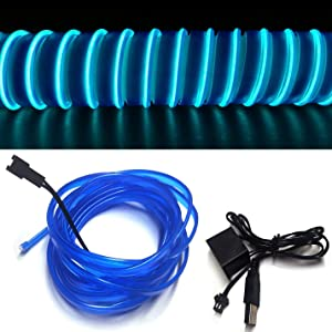 M.best USB Neon LED Light Glowing Electroluminescent Wire/El Wire for Automotive Interior Car Cosplay Decoration with 6mm Sewing Edge (5M/15FT, Blue)