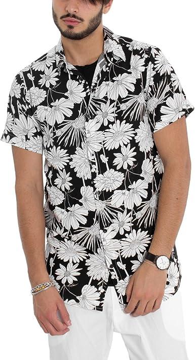 Giosal - Camisa para Hombre con Cuello de Fondo Negro, Estampado de fantasía Blanca Floral y Media Manga Informal Negro L: Amazon.es: Ropa y accesorios