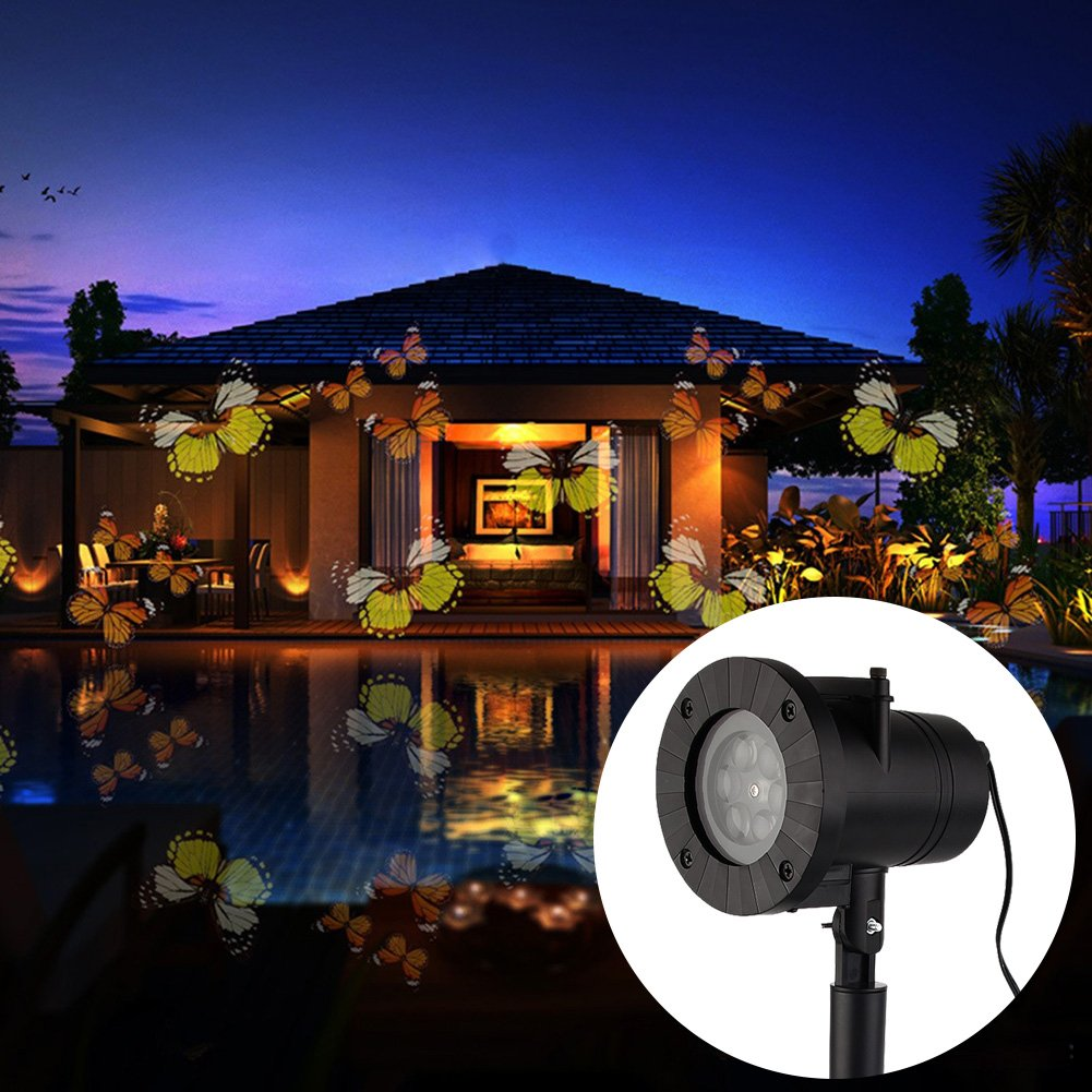 Christmas Landscape Lights Projector Waterproof Outdoor Christmas Card LED Snowflake Projection Lamp for Holiday Christmas Tee Garden Patio Stage Decoration (Butterfly Light) by TOPCHANCES (Image #7)