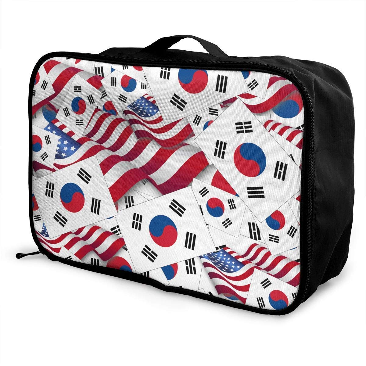 JTRVW Luggage Bags for Travel Portable Luggage Duffel Bag South Korea Flag with America Flag Travel Bags Carry-on in Trolley Handle