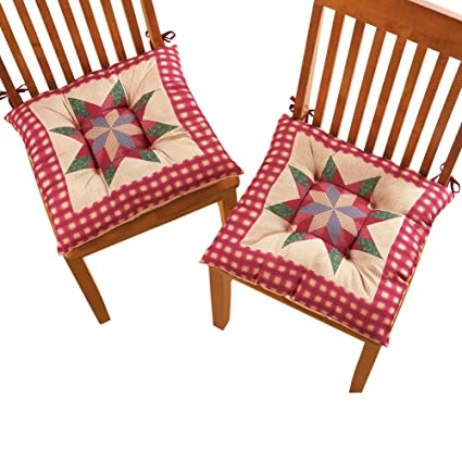 Collections Etc Patchwork Country Star Gingham Non Slip Chair Cushion 2  Piece Set With Ties