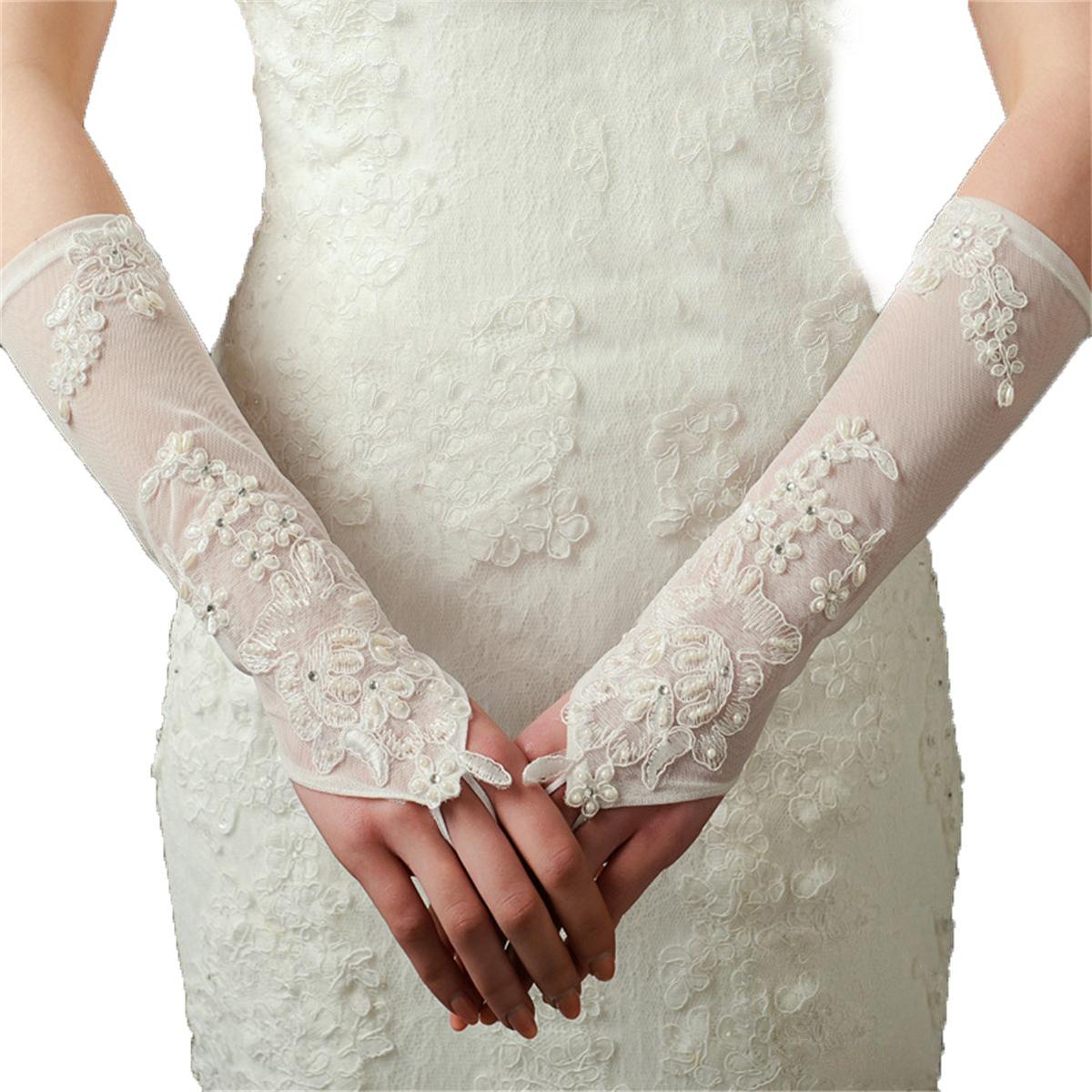 Ivory Lace Elastic Net Bridal Gloves Long Wedding Lace Flowers Gloves