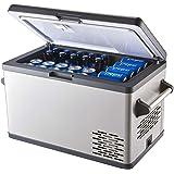 Aspenora 37-Quart Portable Freezer Fridge 12V Car Refrigerator Car Fridge with Compressor, Dual Zone, LCD Display for Truck RV Camping Travel Outdoor Driving, -4℉ ~ 68℉, 12/24V (Black, 37-Quart)