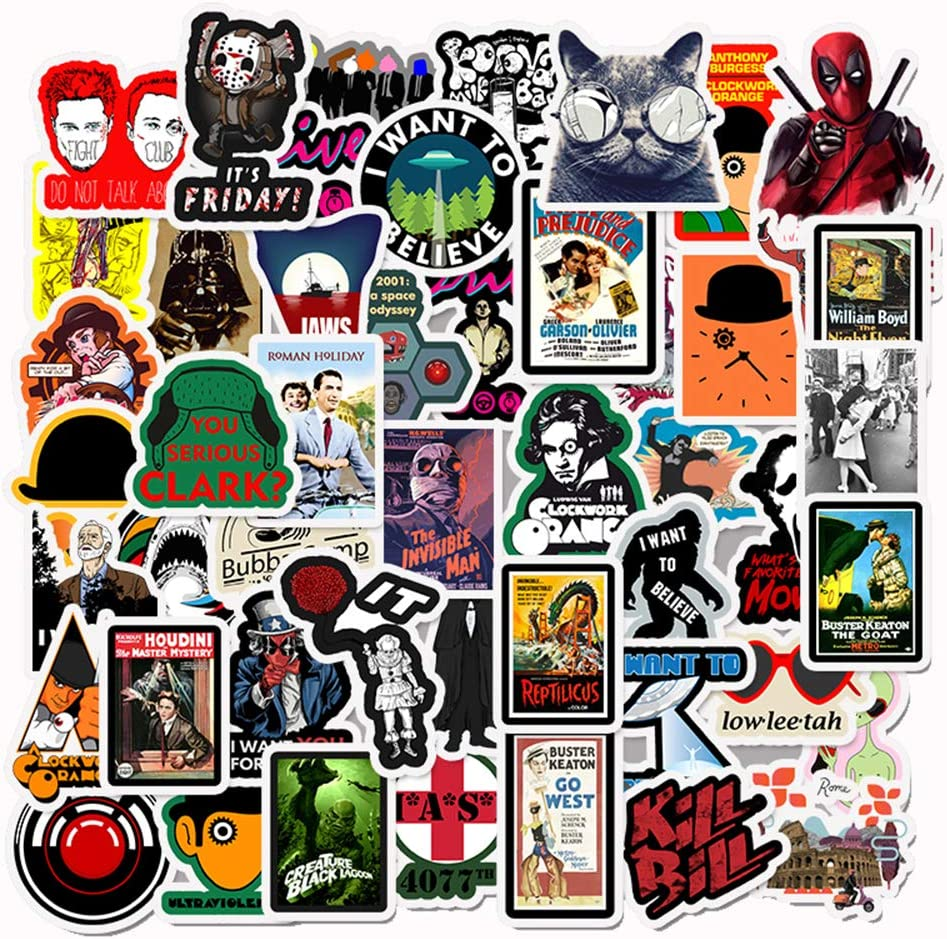 Classic Movie Laptop Stickers Cool - 50 Pcs Vinyl Decals Water Bottle Phone Case Notebook Guitar Skateboard Travel Kid Adults Waterproof Unique