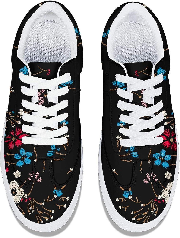 Floral Patter Women Lace-Up Leather Sneaker Original Low Cut Soft Walking Shoes