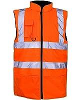 Hi Viz Vis Visibility Fleece Reversible Waterproof Body Warmer Gilet Waistcoat-Orange-L (Large)