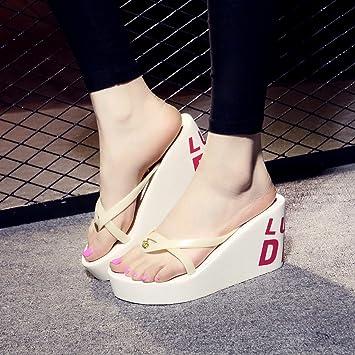 XIAMUO Sommer high-heeled Flip Flops mit dicken Plattform Hang wasserdicht Hausschuhe Sandalen 35 Schwarz 11...