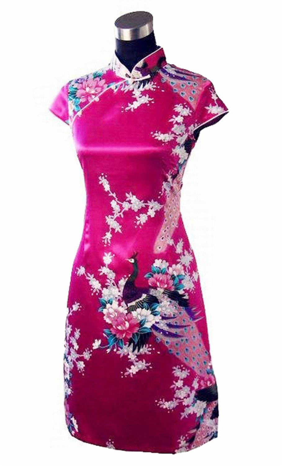 Coac3 Blue Chinese Women's Silk Rayou Halter Cheongsam Mini Qipao Dress Peafowl Size S M L XL XXL Hot Pink S