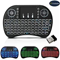TFHEEY Mini Teclado Inalambrico Iluminado, Con TouchPad, USB 2.4GHz para PC, Android TV Box (Negro)