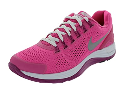 timeless design b0a28 65665 Nike Kids Lunarglide 4 (GS) Running Shoes (DSRT PNK/RFLCT SLCY/RV PNK/BLK)