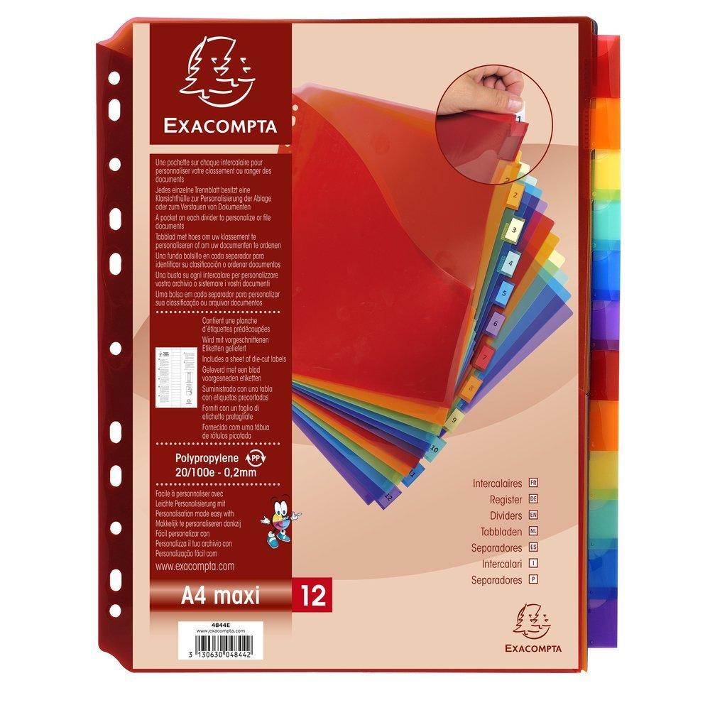 Exacompta 4844E pacchetto di 12 divisori A4 + in polipropilene colori assortiti