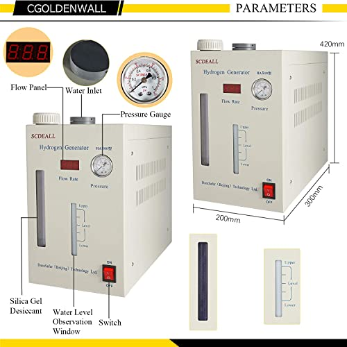 CGOLDENWALL Lab High Purity Hydrogen Gas Generator H2 0-500ml H2 Machine with Hydrogen Absorption Tube Diffusion Stone