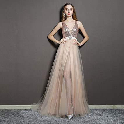 c4ecb5b7d654b9 Amazon.com  CJJC Elegant Women s V-Neck Sequins Evening Dress Spaghetti  Straps Sleeveless Long Floor Length Ball Gowns Party Prom Dresses