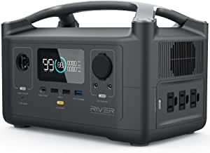 EF ECOFLOW Portable Power Station RIVER 600, 288Wh Backup Lithium Battery with 3 600W (Peak 1200W) AC Outlets & LED Flashlight, Clean & Silent Solar Generator for Outdoor Camping RV Emergencies Home