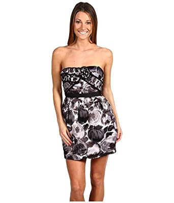 477c5dd9601 Amazon.com  BCBG Max Azria Strapless or Strap Black White Prom Evening  Cocktail Dress 12  Clothing