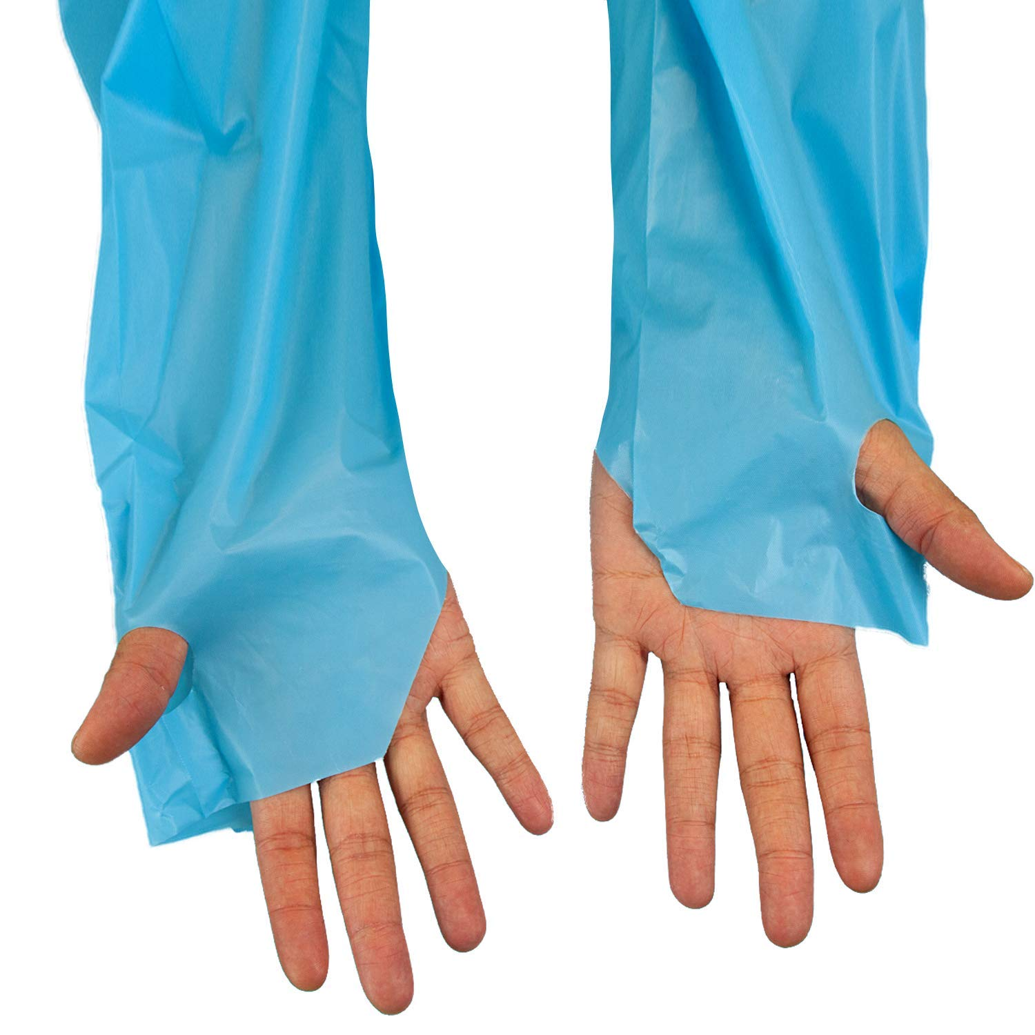 SAFE HANDLER Disposable Sleeve Gown | Open Back with Thumb Loops, 0.5 MIL, Blue, 100 Count by Safe Handler (Image #4)