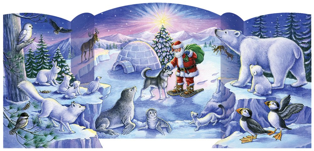 North Pole Friends Free Standing Advent Calendar Vermont Christmas Company BB904