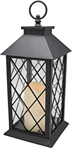 """YAKii 13"""" Decorative Candle Lantern with LED Flameless Candle and Timer, Plastic LED Candle & Holder, Indoor & Outdoor Hanging Lights Thanksgiving &Christmas Day Decorations (Black)"""
