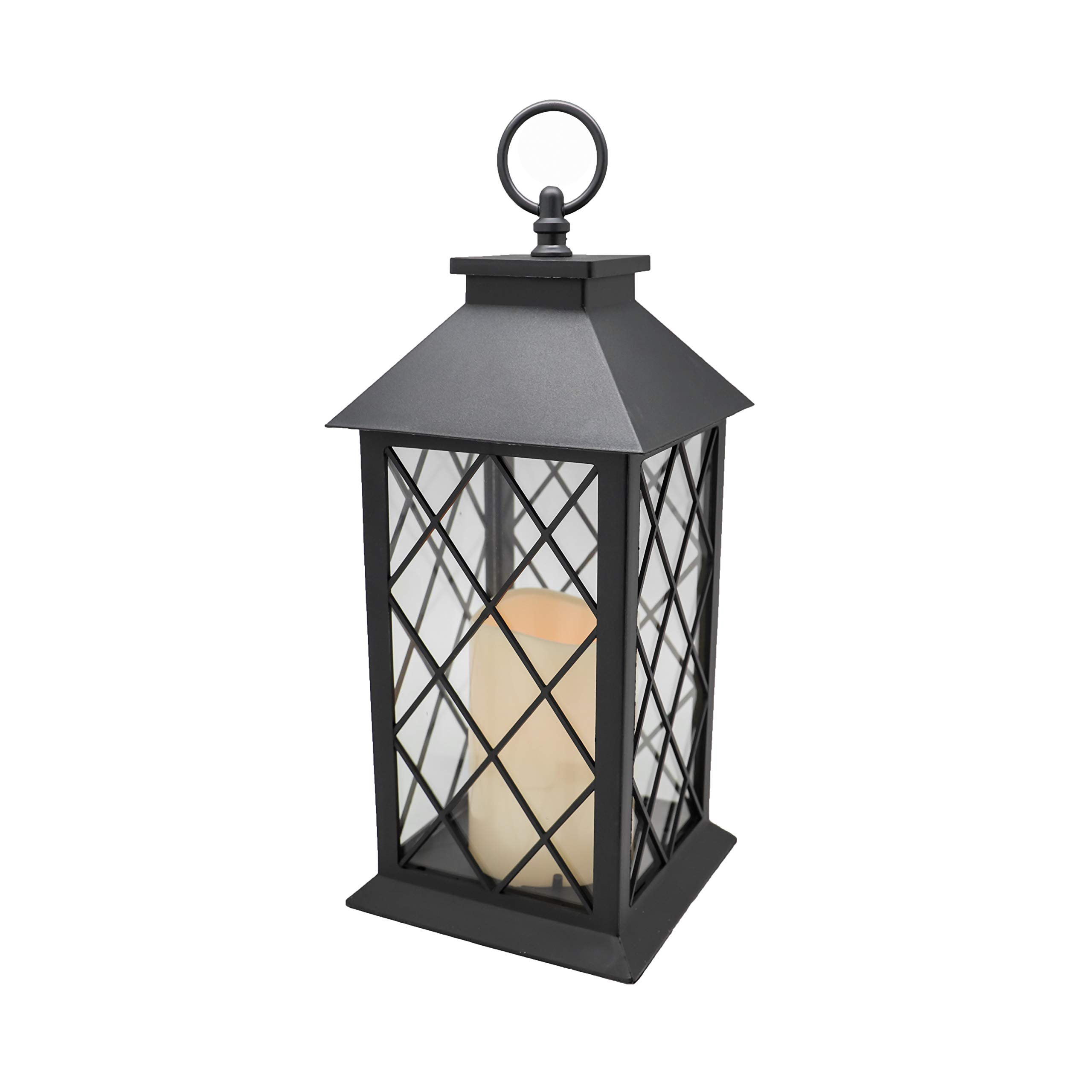 YAKii 13'' Decorative Candle Lantern with LED Flameless Candle and Timer, Plastic LED Candle & Holder, Indoor & Outdoor Hanging Lights(Black)