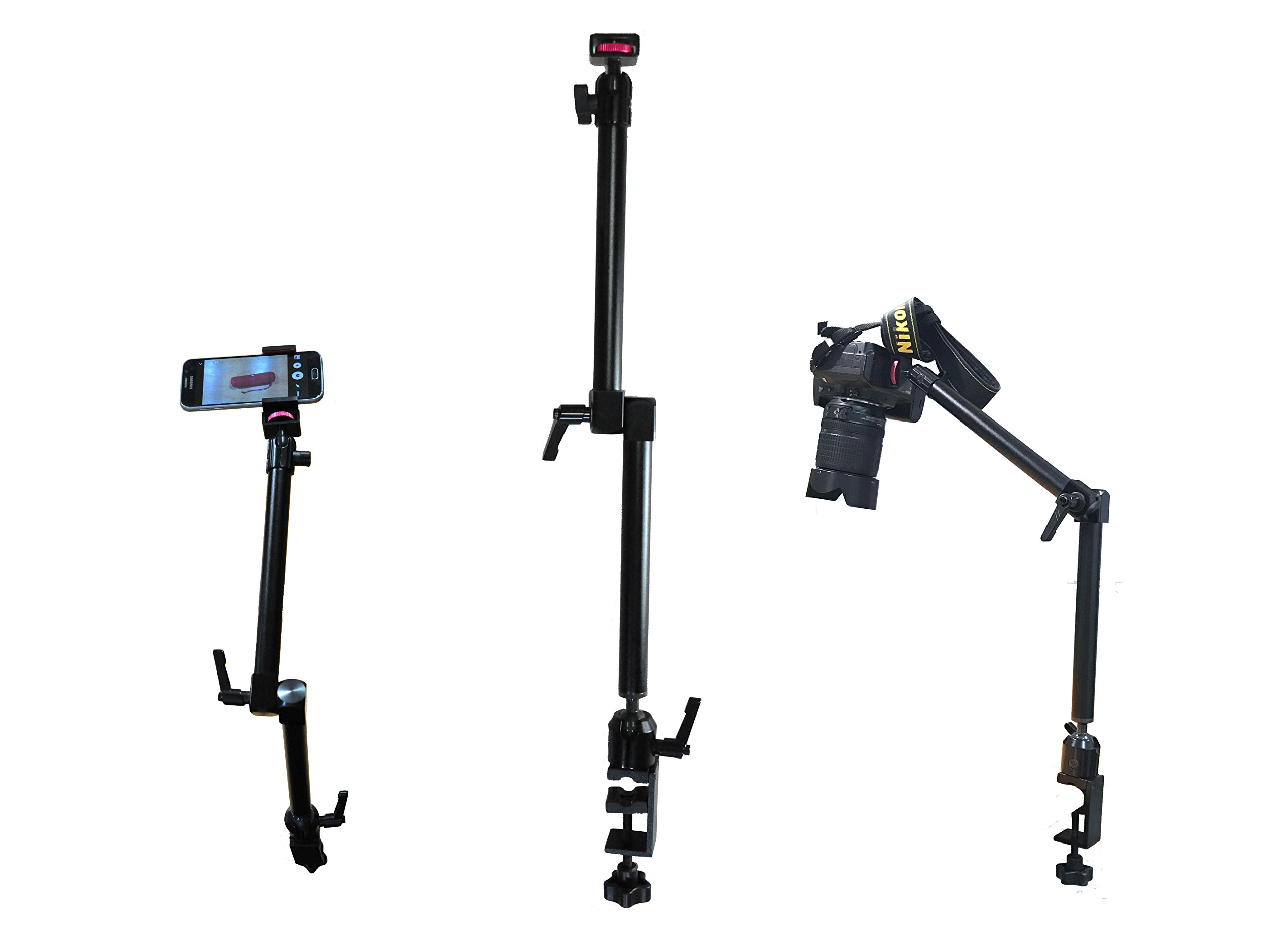 Arkscan MCM5 Tabletop Photography, Videography, Camera and Smartphone iPhone Table Clamp Mount with ¼-20 Camera Mounting Bolt for Nikon Sony Canon Olympus Panasonic Cameras