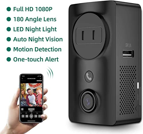Security Camera Wireless, Monja Portable Outlet Cameras, WiFi Nanny Cam with Socket, USB Port, Induction Lights, 180 Angle Lens, One-Click Alarm, Motion Detect, Night Vision for Indoor Home Security
