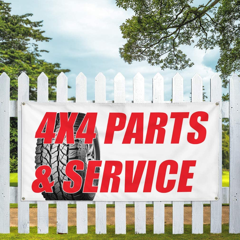 Vinyl Banner Multiple Sizes 4x4 Parts /& Service Auto Car Vehicle B Automotive Outdoor Weatherproof Industrial Yard Signs White 10 Grommets 60x144Inches