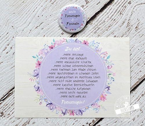 Beste Freundin Trauzeugin Fragen Willst Du Geschenk Für Trauzeugen Karte Mit Button Hochzeit