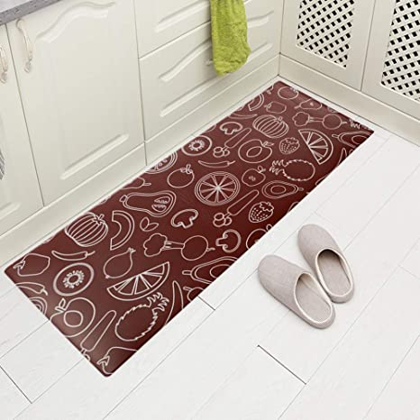 Incredible Carvapet Comfort Anti Fatigue Kitchen Standing Desk Mat Waterproof Decorative Ergonomic Floor Pad Kitchen Rug Fruitsvegetables Design 18X47 Download Free Architecture Designs Scobabritishbridgeorg