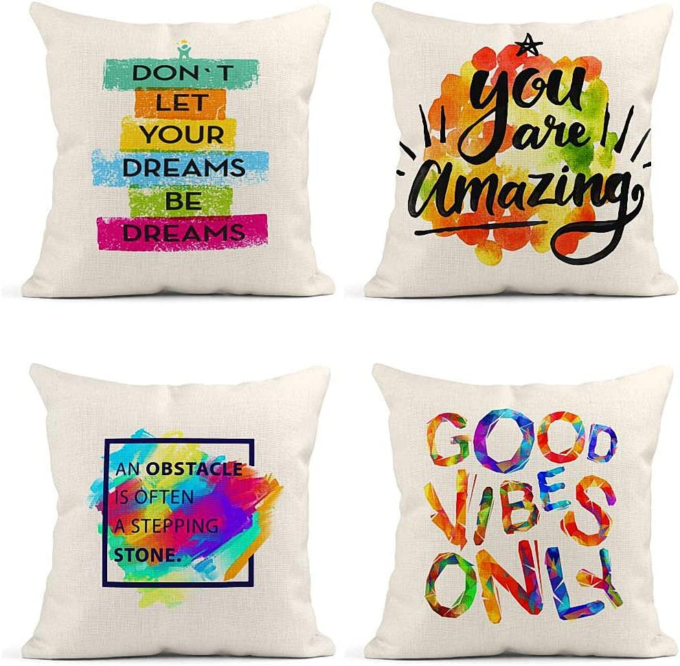 ArtSocket Set of 4 Throw Pillow Covers Don`T Let Your Dreams Be Motivation Creative You are Amazing Decor Linen Pillow Cases Home Decorative Square 18x18 Inches Pillowcases