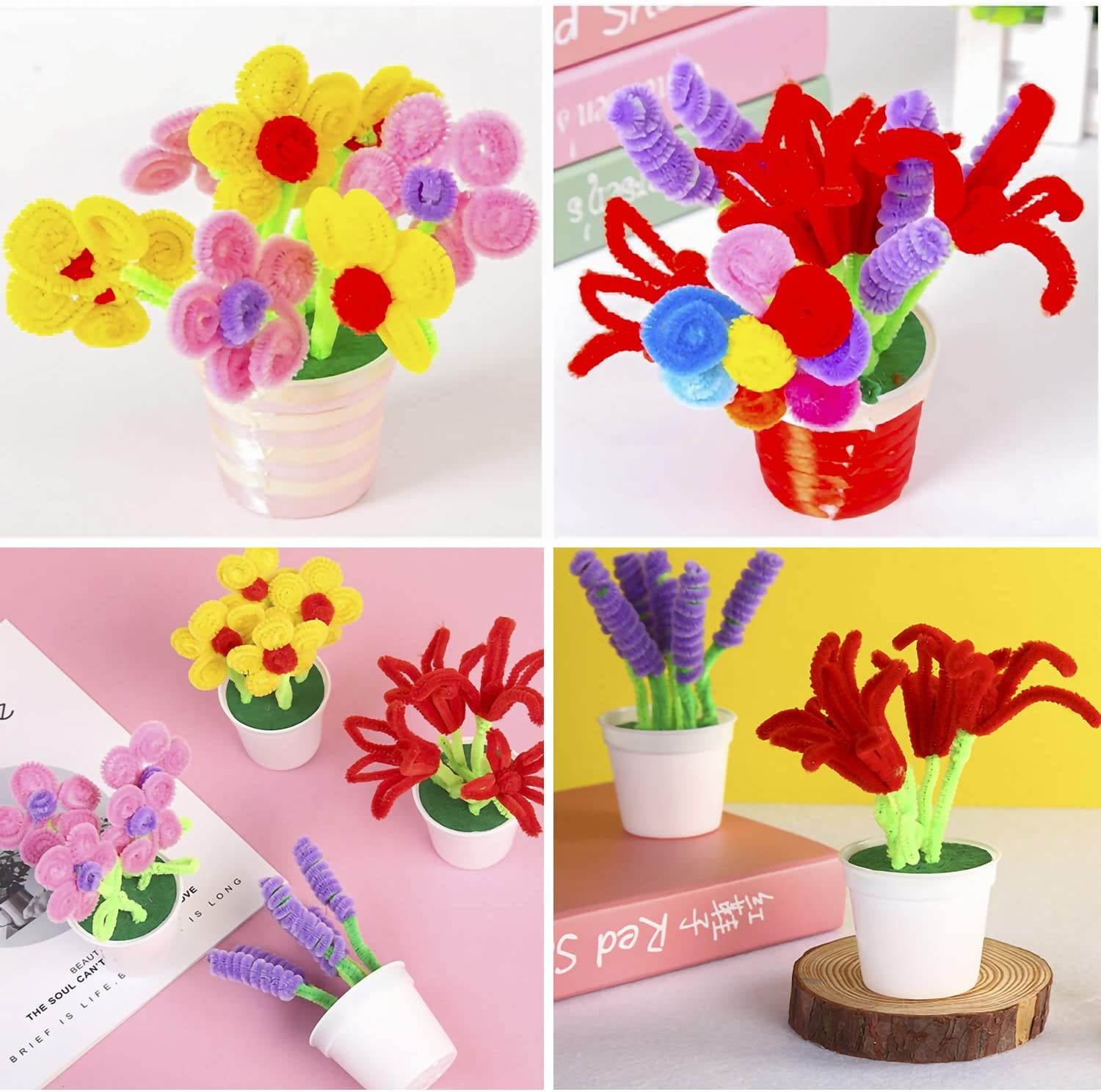 6 mm x 12 inch ONEPENG 300 Pcs Pipe Cleaners Assorted Colors Chenille Stems for Valentine Day DIY Art Craft Decorations Color A