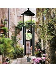 Solar Power Light Wireless Waterproof Wind Spinner Metal Wind Chime LED Light Outdoor Garden Courtyard Hanging Lamp Lawn Light