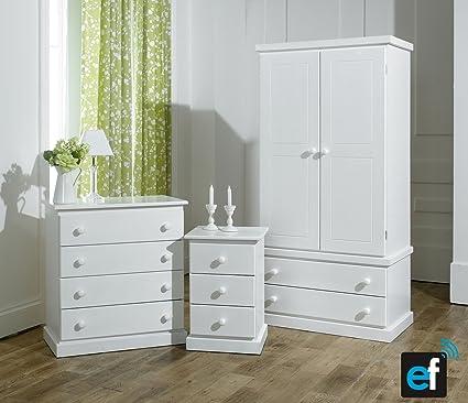 3 piezas blanco juego de muebles para dormitorio - Montado - no ...