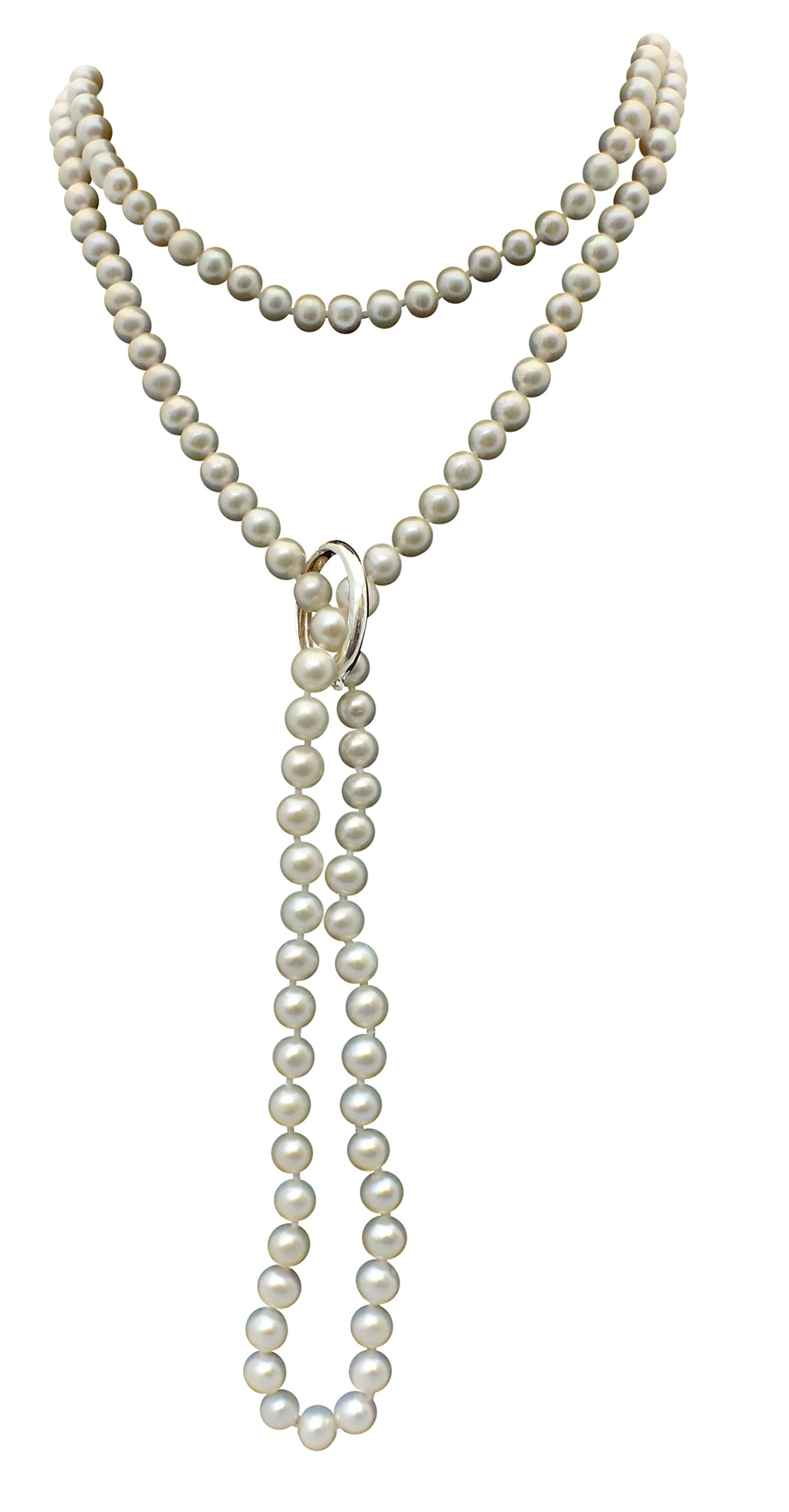 White Shanghai 6-7mm Cultured Pearl 135cm Long Necklace With A Sterling Silver Shortener