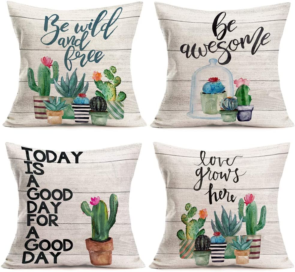 """Fukeen Succulent Plants Cactus Flower Throw Pillow Covers Home Decor Wood Background with Inspirational Quotes Decorative Pillow Cases Set of 4 Cotton Linen 18""""x18"""" Green Houseplant Cushion Cover"""
