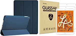 ProCase iPad Mini 5 2019 Slim Stand Smart Case (Navy ) Bundle with 2 Pack iPad Mini 5 2019 / Mini 4 2015 Tempered Glass Screen Protectors