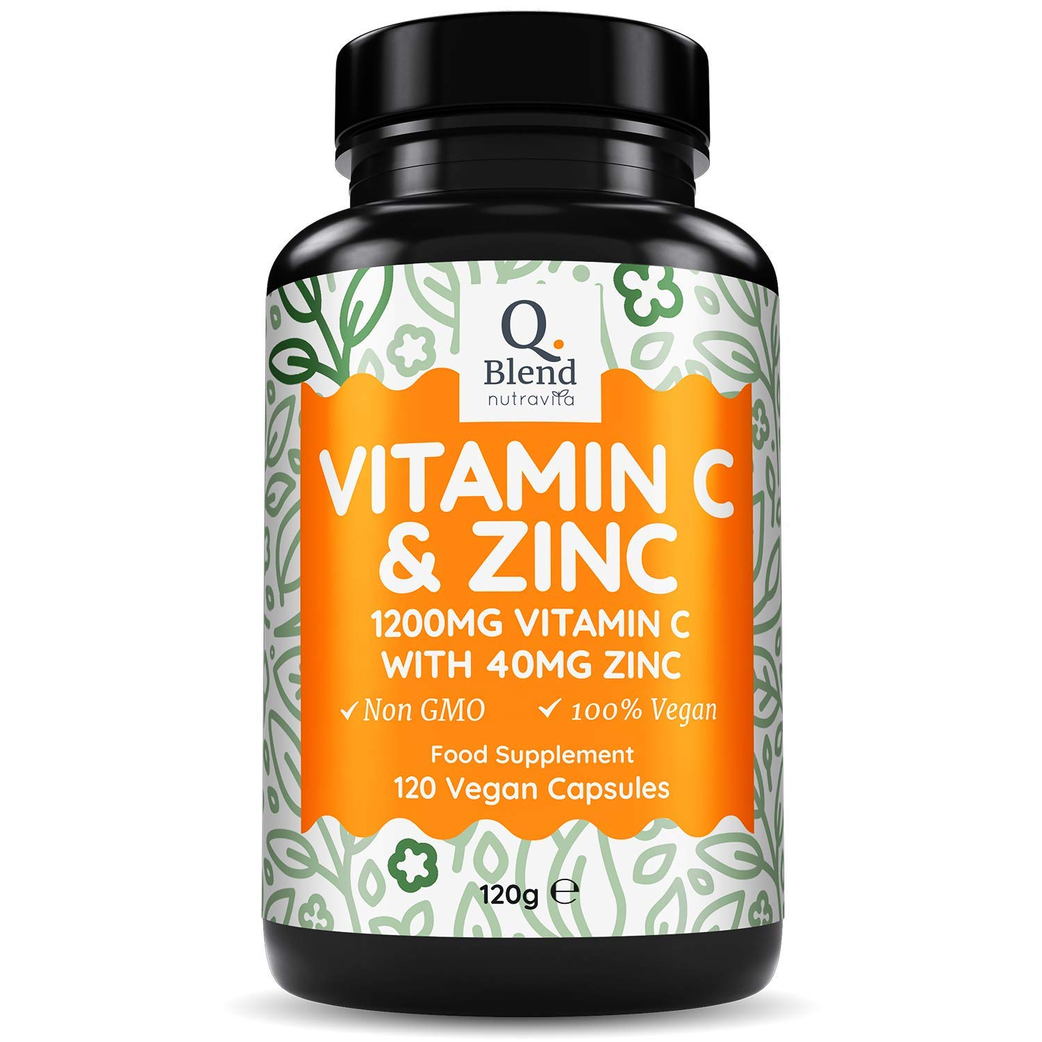 Vitamin C 1200mg and Zinc 40mg – High Strength Vegan Ascorbic Acid – for Normal Immune System – 2 Capsules per Daily Serving – 120 Capsules – 2 Month Supply – Made in The UK by Nutravita