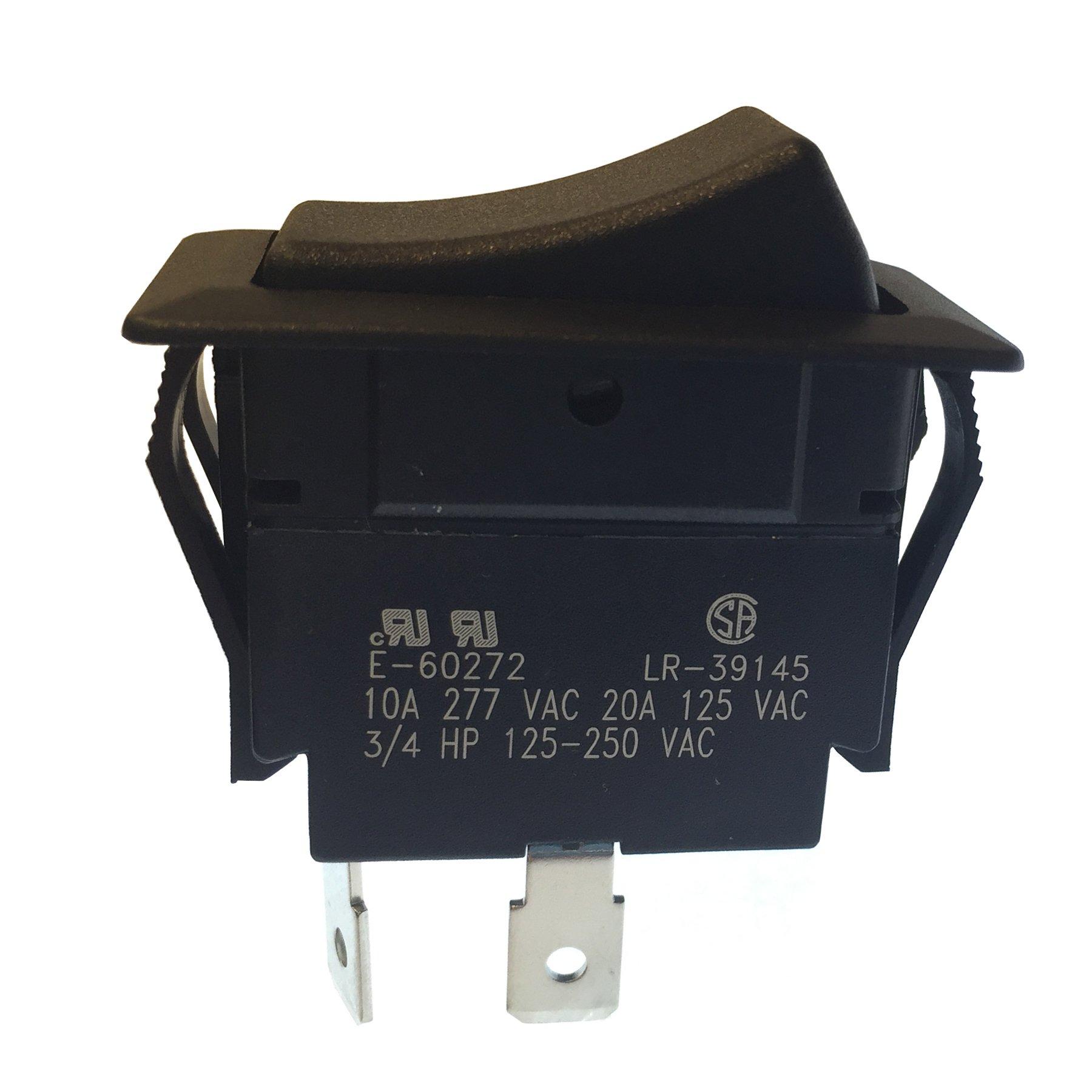Gardner Bender GSW-45  Heavy-Duty Electrical Rocker Switch, SPST, ON-OFF,  20 A/125V AC,  Spade Terminal