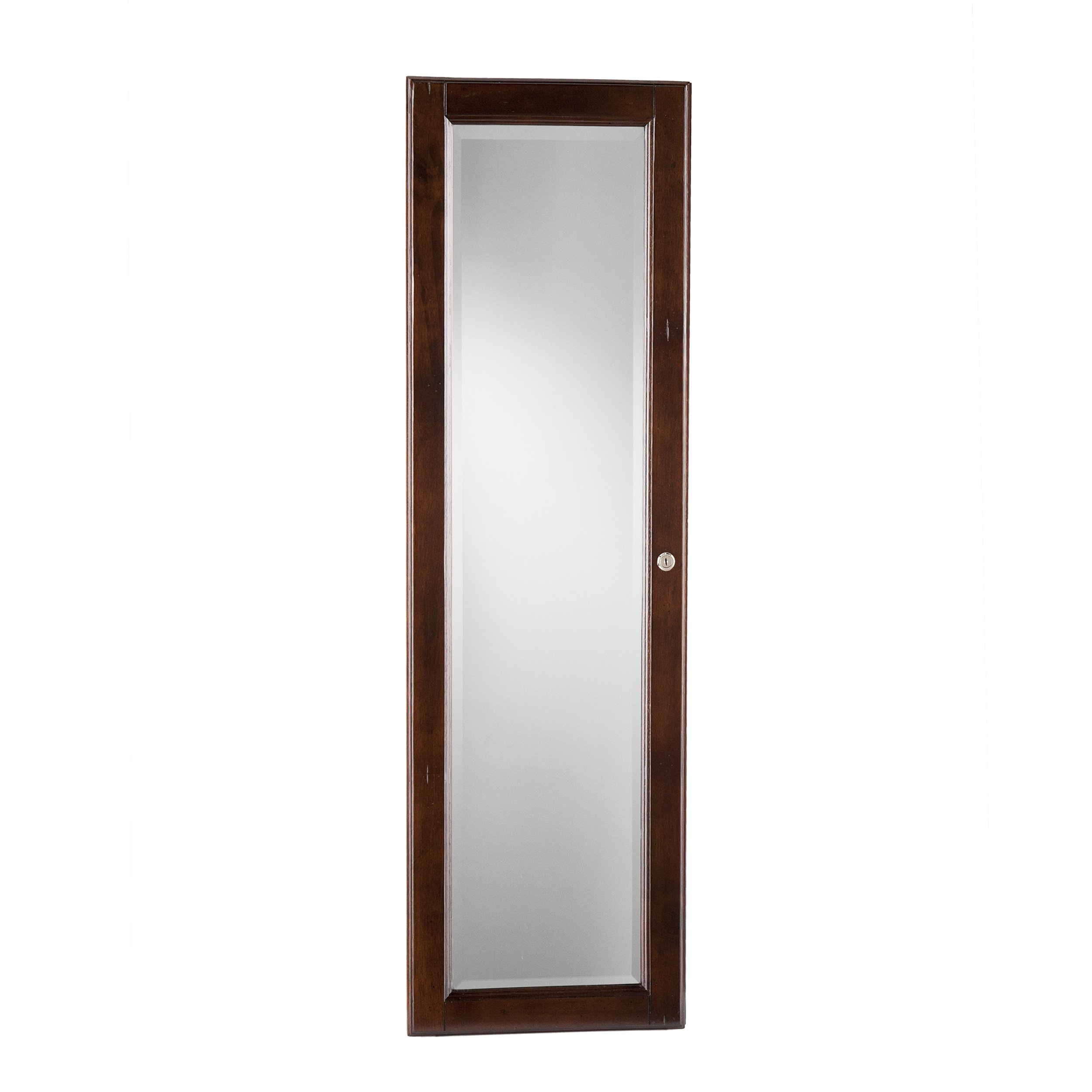 Wall Mount Jewelry Mirror - Brown Walnut by Southern Enterprises