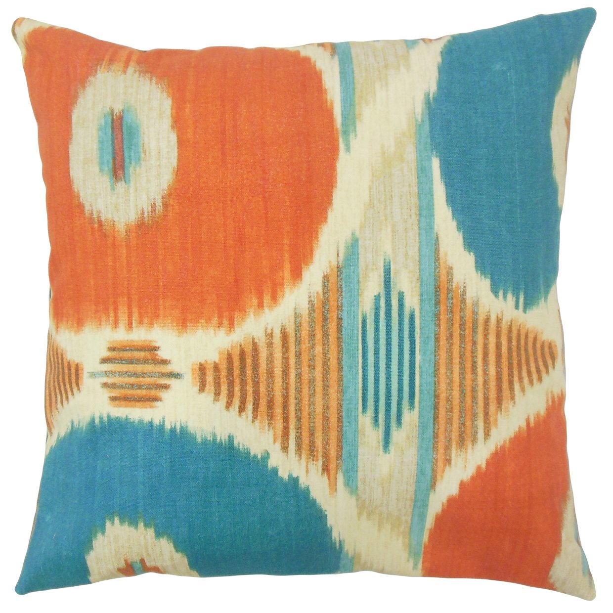 The Pillow Collection P18-WAV-110251-SPICEISLANDS-HENNA-C100 Efrat Ikat Pillow Henna