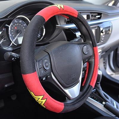 "BDK Wonder Woman Velvet Grip Steering Wheel Cover - Black/Red on Smooth Velour for Cars Trucks SUVs - 15"" Standard Size: Automotive"