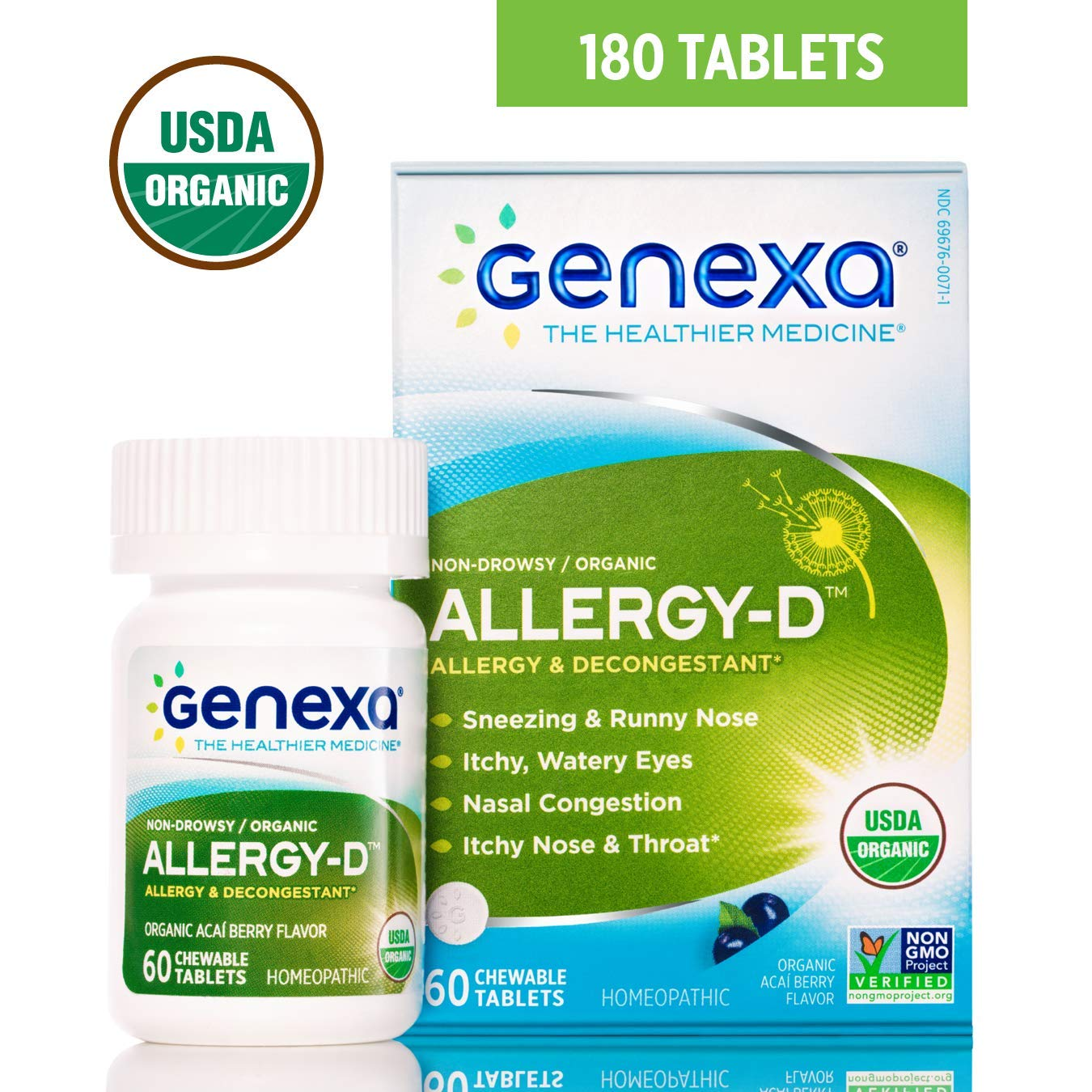 Genexa Allergy-D - 180 Tablets (3 Pack) | Certified Organic & Non-GMO, Physician Formulated, Homeopathic | Multi-Symptom Allergy Relief Medicine by Genexa