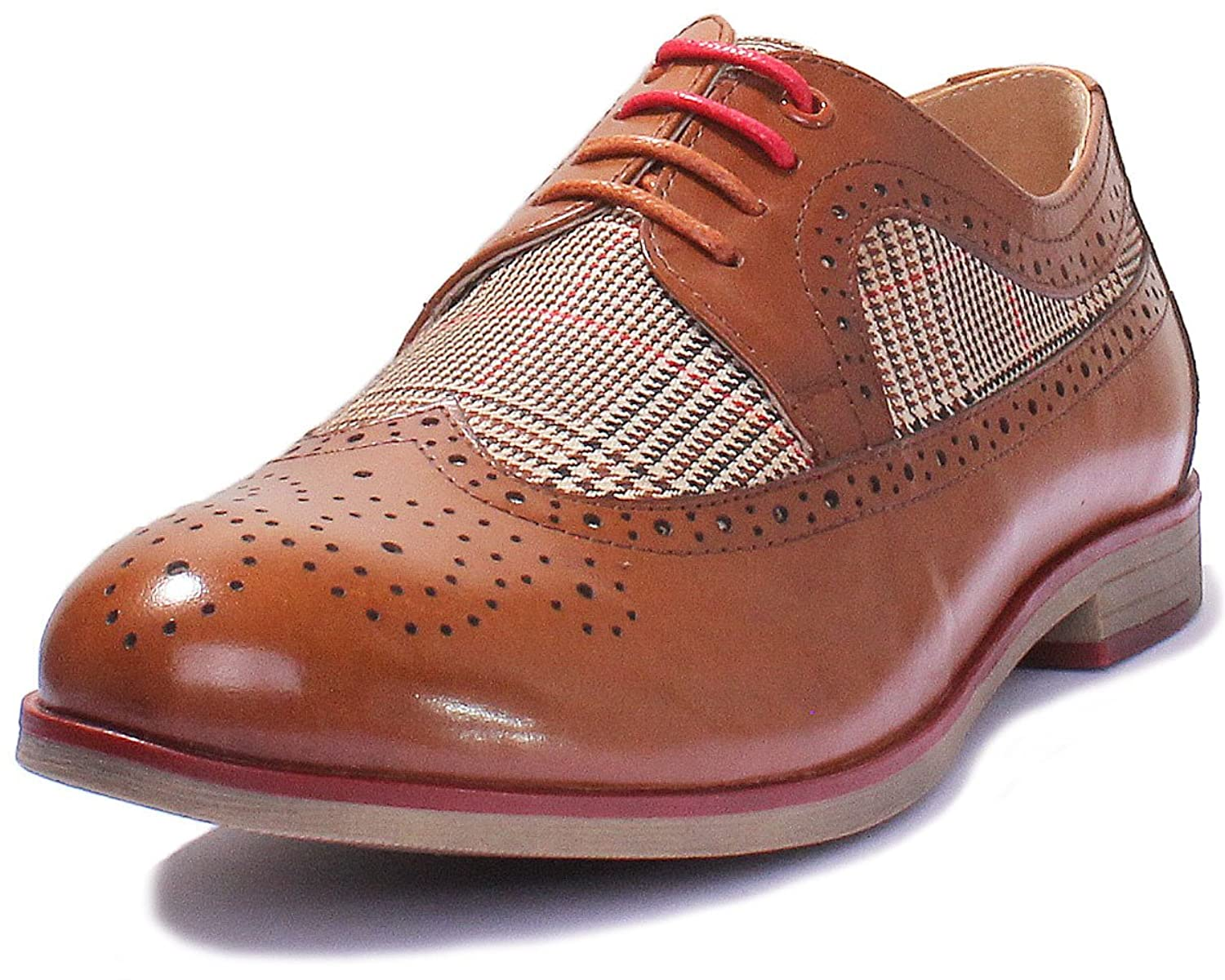 cad82aa664b Justin Reece Melanie Women Leather English Lace Up Check: Amazon.co.uk:  Shoes & Bags