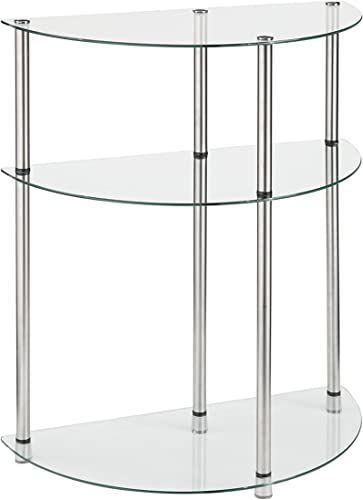 Convenience Concepts Designs2Go Classic Glass 3 Tier Entryway Table