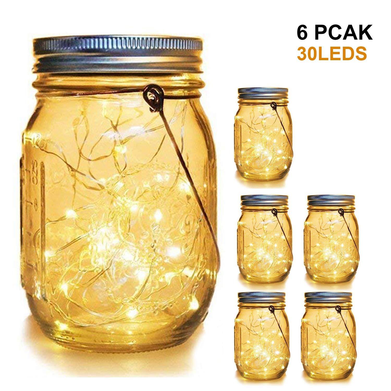 WERTIOO 6 Pack Solar Mason Jars Lights,30 LEDs Hanging Solar Lanterns Garden Decor Outdoor Lights Warm White Table Decor Fairy Lights for Patio Wedding Christmas Party