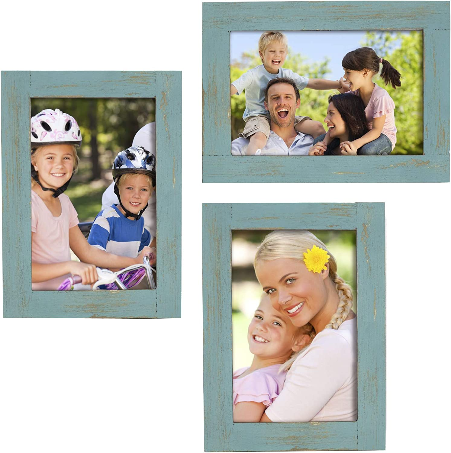 Rustic Torched Wood Picture Frames: Includes three 4